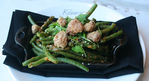 Deep-fried pork brain with haricots verts tossed with sesame vinaigrette, topped with sesame seeds and togarashi, and garnished with cilantro. - JULIA THIEL