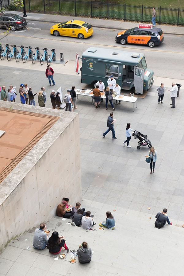 As Enemy Kitchen's free food service began on October 1 at 2 PM, about 50 people were lined up and waiting at the truck parked in front of the Museum of Contemporary Art. - NATHAN KEAY/MCA CHICAGO
