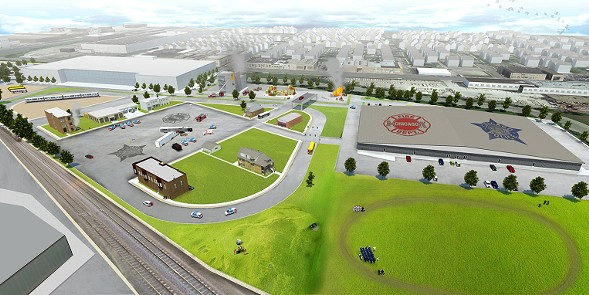 A rendering of the planned police and fire department training facilities to be located in West Garfield Park - COURTESY OF CITY HALL
