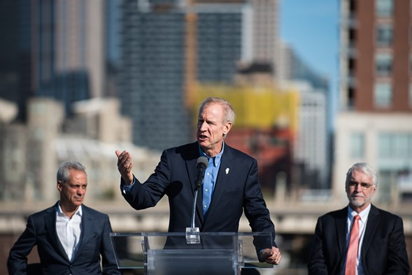 """Governor Bruce Rauner announces the public-private partnership to develop """"the 78,"""" a 62-acre site on the Chicago Pier October 19 - MAX HERMAN/FOR THE SUN-TIMES"""