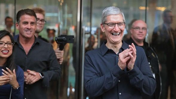 Apple CEO Tim Cook at the opening of Apple's new Chicago flagship store - SCOTT OLSEN/GETTY IMAGES