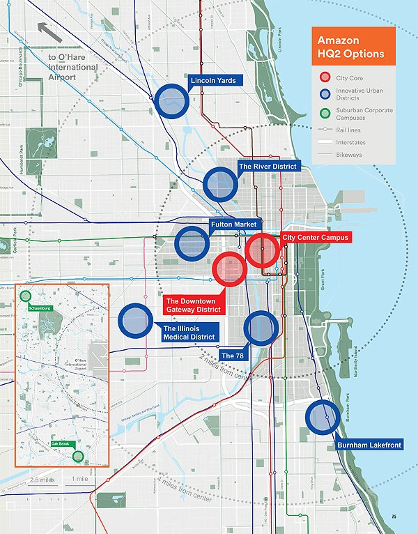 Proposed Chicago sites for Amazon's HQ2 as included in the official bid - CITY OF CHICAGO