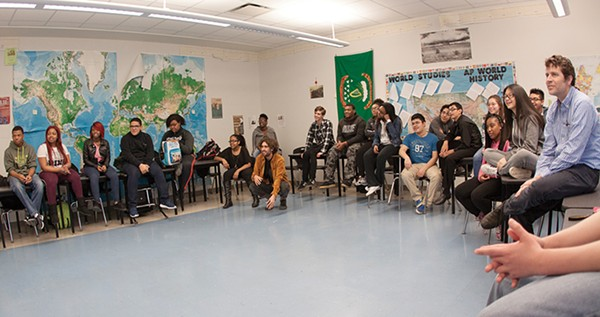 Stein teachs an EPIC SPARK class as part of the history of democracy unit of a world studies class at Westinghouse. - AIRAN WRIGHT