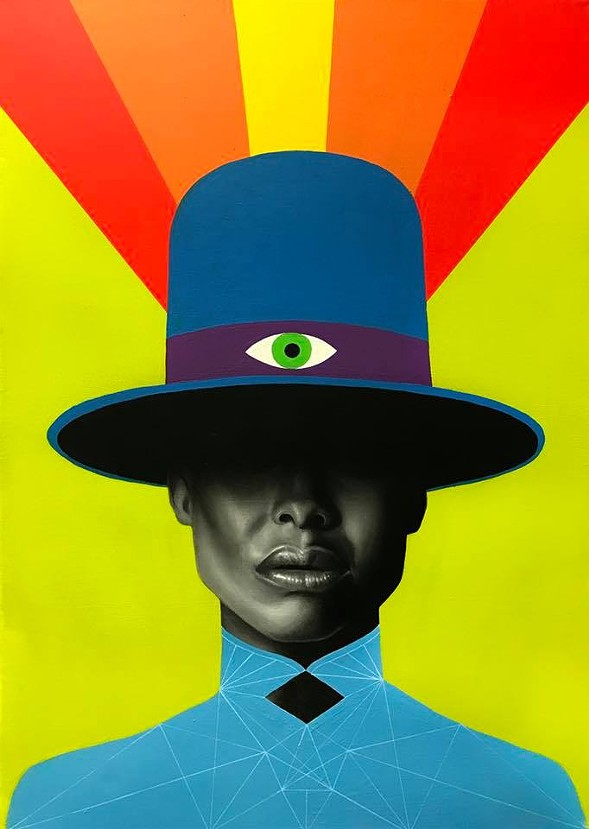 "James Nelson's Badu, one of many portraits on display at ""You, Me and Everyone Else - FACEBOOK"