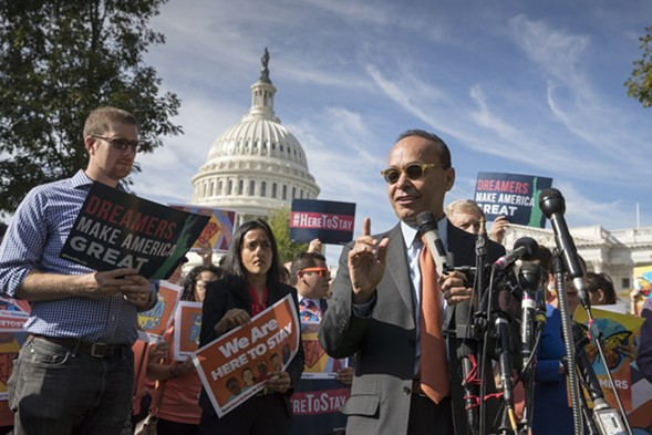 Congressman Luis Gutierrez speaks in support of Dreamers during a rally at the Capitol in October. - AP PHOTO/J. SCOTT APPLEWHITE