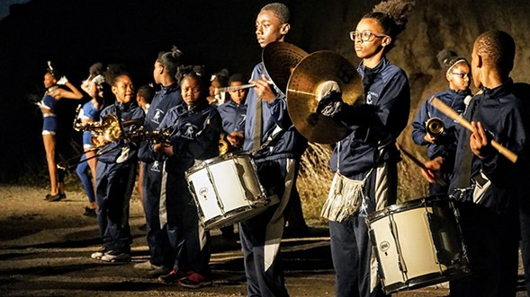 The Marching Mustangs during their collaboration with Mucca Pazza at Steelworkers Park in September - DARIS JASPER