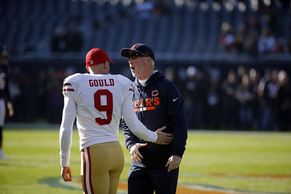 Former Bears kicker Robbie Gould, now on the 49ers, talks to Bears coach John Fox. - AP PHOTO/CHARLES REX ARBOGAST