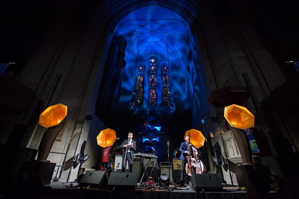 Andrew Bird (left) and his Specimen Products horn speakers at Fourth Presbyterian Church - BEN BOWEN