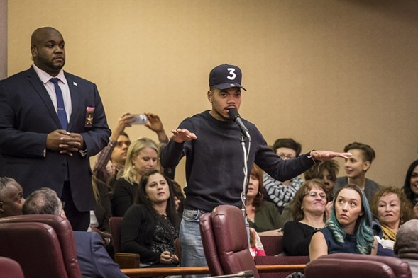 Chance the Rapper scolded aldermen over their spending priorities at the November 8 City Council hearing. - RICH HEIN/SUN-TIMES
