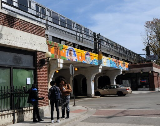 Outside the Morse el stop, where Trevillion was killed and the community meeting was held three days later. - JOHN J. KIM/SUN-TIMES