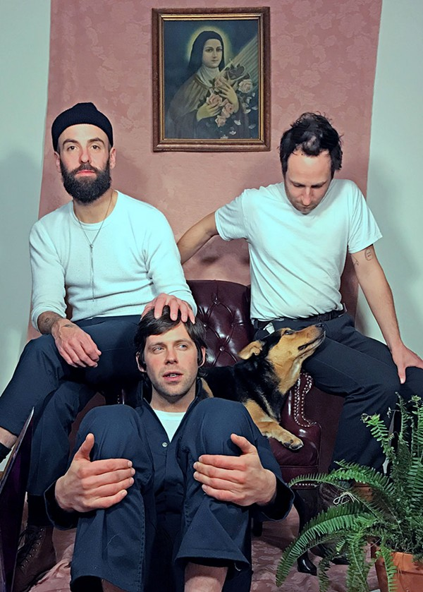 Part of the Charlie Reed lineup: Tyler Bixby, Luke Trimble, and Nick Beaudoin. The dog has no formal role in the band. - NORAH CHIN (PAINTING BY GARRET LAWRENCE)