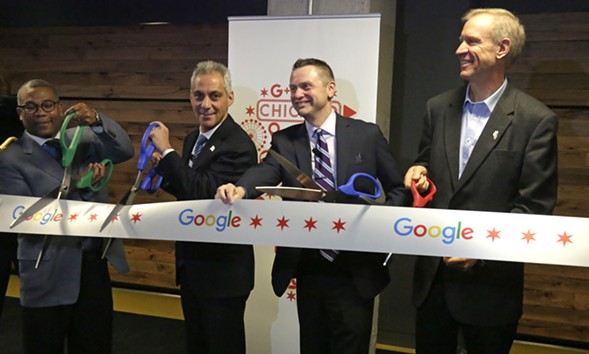The ribbon cutting at the opening of Google's Chicago headquarters in 2015 - AP PHOTO/M. SPENCER GREEN
