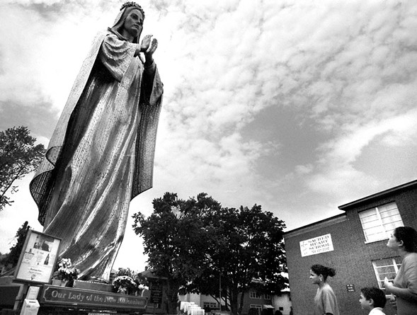 Our Lady of the New Millennium outside Sacred Heart Church in Melrose Park in 2003. - TAMARA BELL/PIONEER PRESS