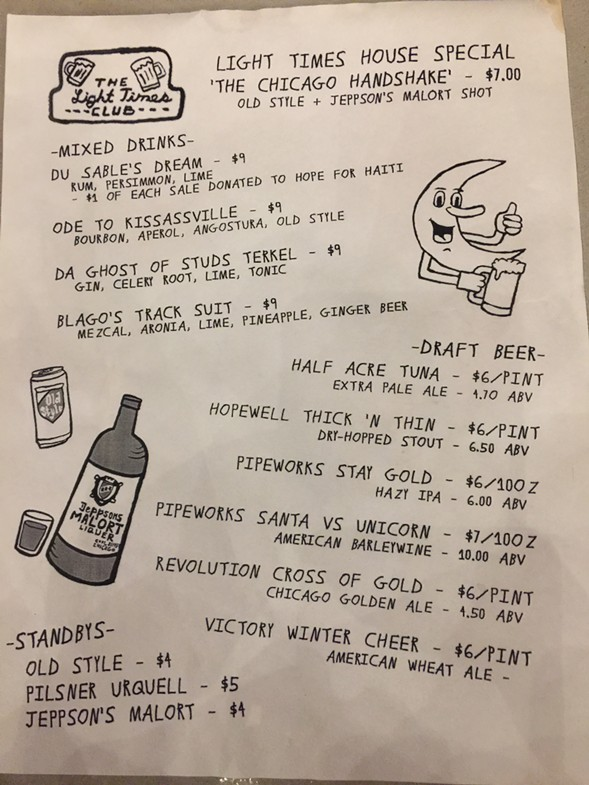 The drink menu at Light Times Club