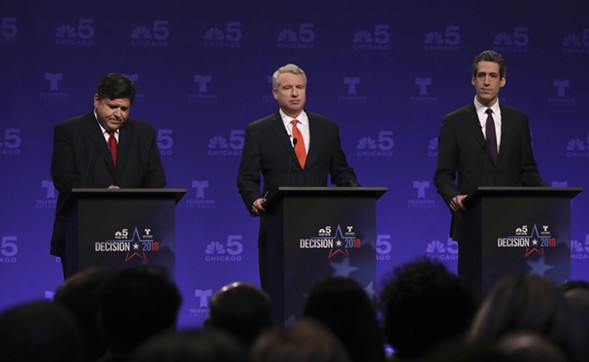 Competing in the Democratic primary for governor are billionaire J.B. Pritzker, businessman Chris Kennedy, and state senator Daniel Biss. - JOHN J. KIM/CHICAGO TRIBUNE VIA AP, POOL