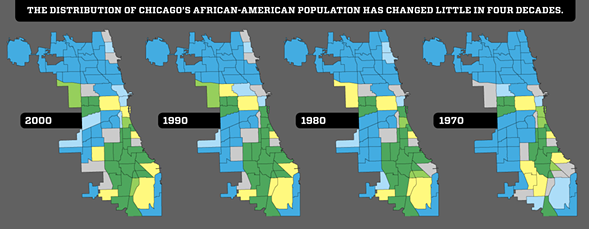 The neighborhood areas colored green have the highest concentration of African-Americans, while those that are blue have the lowest. - PAUL JOHN HIGGINS