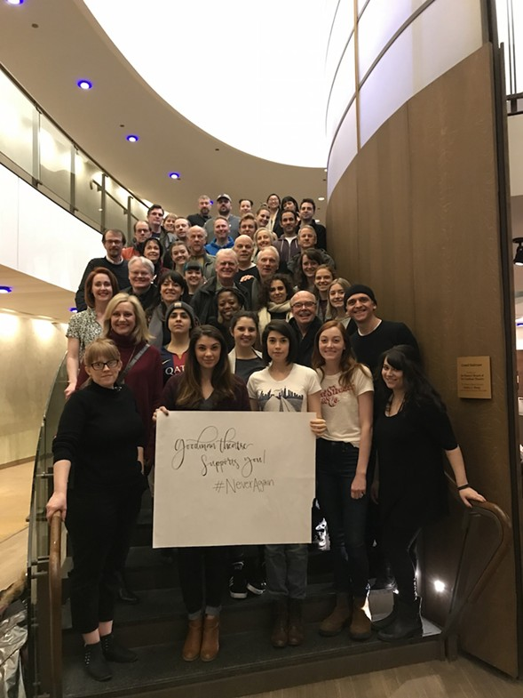 The casts of the current Goodman productions The Wolves and Blind Date sent a message of support to the students at Marjory Stoneman Douglas High School. - COURTESY GOODMAN THEATRE