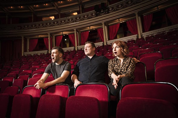 Jamie Morton, flanked by his friends James Cooper and Alice Levine, brings his podcast My Dad Wrote a Porno to the stage. - COURTESY ROYAL ALBERT HALL