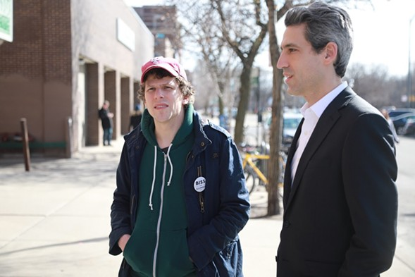Actor Jesse Eisenberg rallied for state senator Daniel Biss at a rally for the governor candidate in Chicago on Saturday.