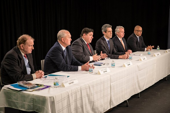 The Democratic gubernatorial candidates plead their case to the Sun-Times editorial board. - RICH HEIN