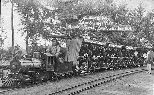 House of David baseball team members aboard a miniature train - COURTESY DAN GEIB