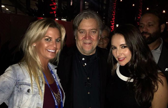 Liz Crokin with Steve Bannon and conservative talk show host Anna Khait
