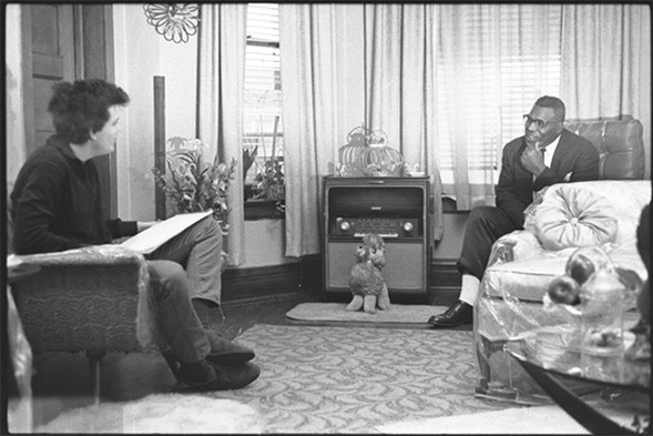 Mike Bloomfield interviewing Howlin' Wolf (Chester Burnett) at Burnett's home in Chicago in 1964 - RAEBURN FLERLAGE/COURTESY CHICAGO HISTORY MUSEUM
