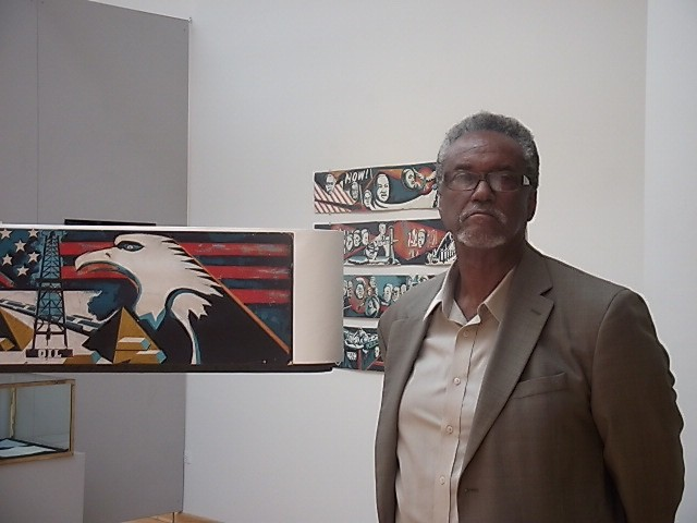 Eda at the Koehnline Gallery exhibition in 2015 - JEFF HUEBNER