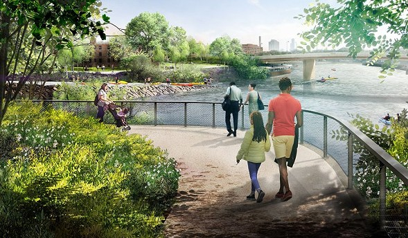 The Lathrop redevelopment will include a revamp of the riverfront with new recreational amenities like kayak launches and landscaping highlighting native flora. - LATHROP COMMUNITY PARTNERS