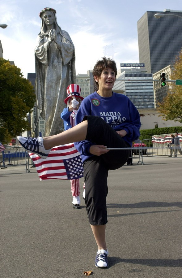 Pappas was a majorette as a schoolgirl in small-town West Virginia. She continued to put her baton-twirling skills on display as an elected official making appearances at Chicago's various civic functions. Here she is at the 2001 Columbus Day Parade. - AL PODGORSKI/SUN-TIMES