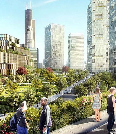 An artist's rendering of the green space of the 78 - RELATED MIDWEST