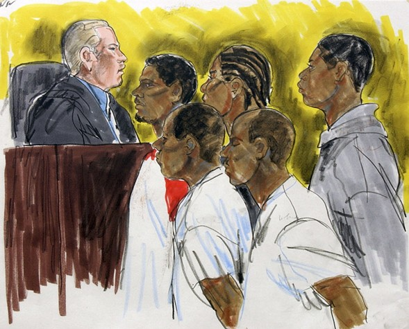A courtroom sketch of Judge Nicholas Ford presiding over bond court in 2002 - AP PHOTO/CAROL RENAUD