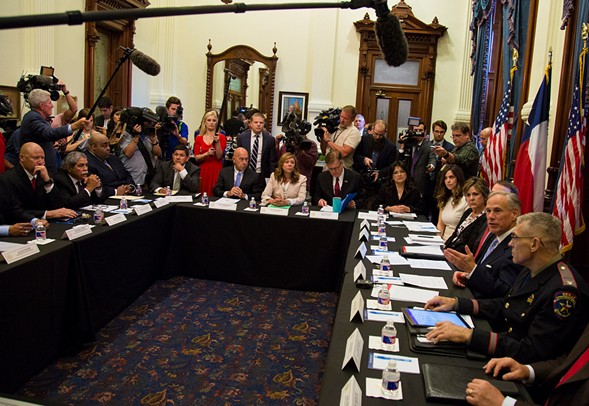 Texas governor Gregg Abbott hosted a roundtable discussion on school safety at the capitol in Austin earlier this week in response to last week's shooting in Santa Fe. - AP PHOTOS