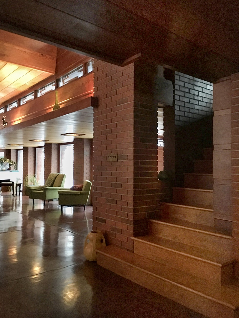 Stairs to 2nd floor sleeping rooms, Frank Lloyd Wright Bernard Schwartz house, AKA 'Still Bend' - MATTHEW GILSON