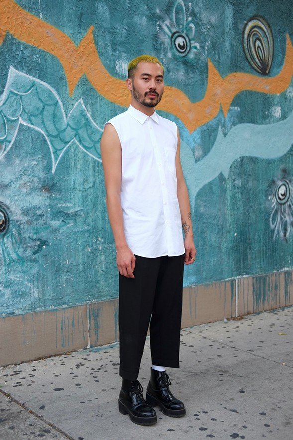 "Life coach Andrew Asuncion, 26, describes his look as ""suburbs-of-Tokyo minimalism."" - ISA GIALLORENZO"