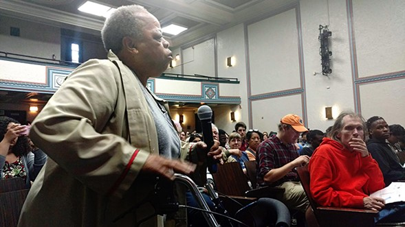 Amanda Shackelford speaks in support of the proposed Chicago Police Accountability Council. - MAYA DUKMASOVA