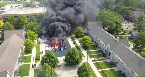 A fire broke out at the playground at ABLA-Brooks Homes Wednesday. - PHOTO COURTESY OF RRG PHOTOGRAPHY