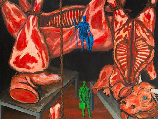 A detail from Wojnarowicz's painting North/South: The New Legionnaires