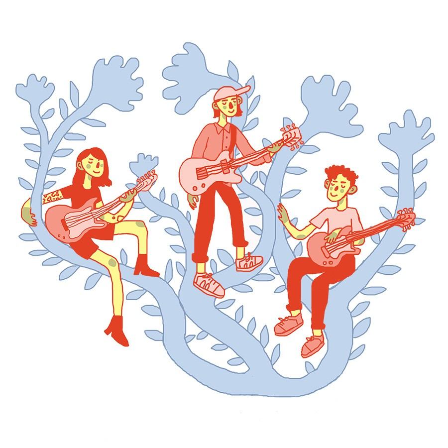 From left: Michelle Zauner of Japanese Breakfast, (Sandy) Alex G, and Cleo Tucker of Girlpool - ILLUSTRATION BY ANNA WHITE