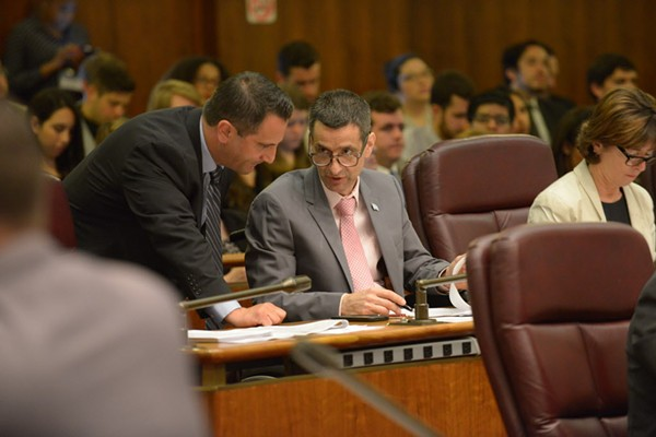 Aldermen Anthony Napolitano (41st Ward) and Nicholas Sposato (38th) at a 2017 City Council meeting. Napolitano recently invoked aldermanic prerogative to block an affordable housing proposal in his northwest-side ward. - BRIAN JACKSON/SUN-TIMES
