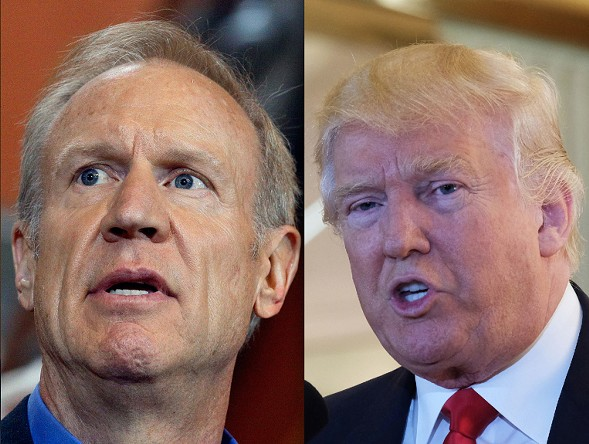 Governor Bruce Rauner, Donald Trump - SUN-TIMES FILE PHOTOS