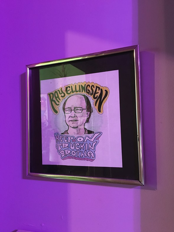 Steve Krakow's portrait of DIY superfan Ray Ellingsen hangs in a back room. - LEOR GALIL