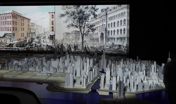 The Chicago Model in the foreground; the city's history on film, behind - DEANNA ISAACS