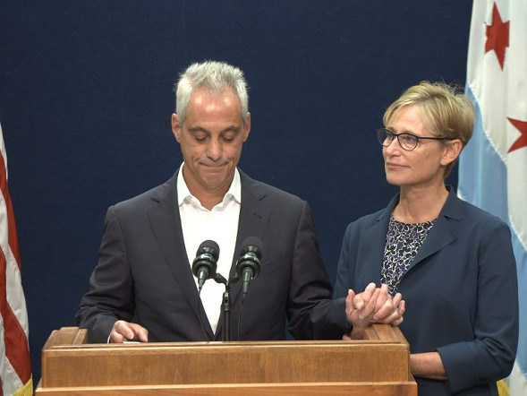 Mayor Rahm Emanuel, accompanied by his wife, Amy Rule, announced Tuesday morning that he won't be running for a third term as mayor. - RAHUL PARIKH/SUN-TIMES