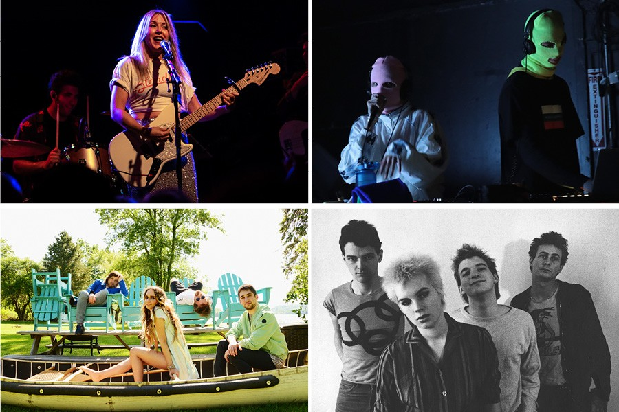 Four female-inclusive acts at Riot Fest 2018, clockwise from upper left: Liz Phair, Pussy Riot, the Avengers, and Speedy Ortiz - PHOTOS BY RAPH_PH/FLICKR, SCOTT OLSON, MARCUS LEATHERDALE, AND SHERVIN LAINEZ