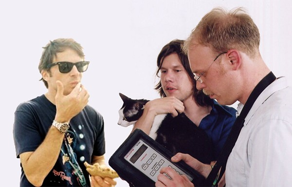 Not even Pinebender's old label had any pictures of them from 2002 or earlier, when Matt Clark (left) was last in the band. Please enjoy this flawless simulation. - PHOTO ILLUSTRATION BY SUE KWONG / PHOTOS COURTESY THE ARTIST