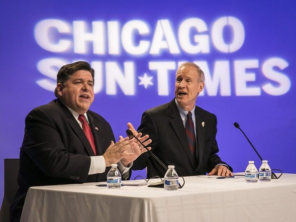 J.B. Pritzker and Governor Bruce Rauner debate earlier this month in front of the Sun-Times Editorial Board. - RICH HEIN/CHICAGO SUN-TIMES