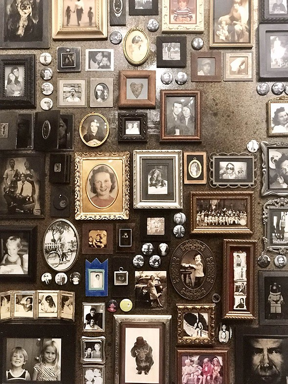 A mural of Jansen's family photos in tintype - ISA GIALLORENZO