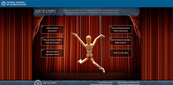 "The landing page of the FBI's ""Don't Be a Puppet"" website, which was rolled out as part of the Countering Violent Extremism program in 2016."