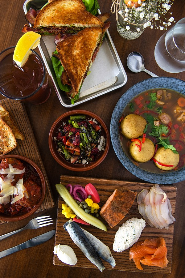 BLT, matzoh ball soup, cured fish board, meatballs, grilled asparagus, and strawberries at Frunchroom - JAMIE RAMSAY